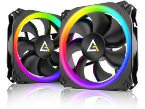 Antec 140mm RGB Case Fan RGB PC Fans Addressable RGB Fans Prizm Series 2 Pack with Controller Hub