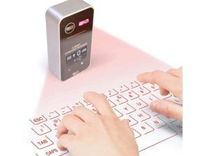 Heartbeat Laser Projection Keyboard, Bluetooth Virtual Keyboard with Keyboard/Mouse/Mobile Power/Mobile Bracket/USB Connection, Wireless Wired Connection Keyboard for Windows/iOS/Android (Black)