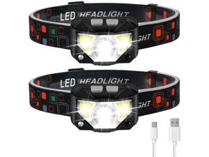 Headlamp Flashlight LHKNL 1100 Lumen Ultra-Light Bright LED Rechargeable Headlight with White Red Light 2-PACK Waterproof Motion Sensor Head Lamp 8 Modes for Outdoor Camping Cycling Running Fishing