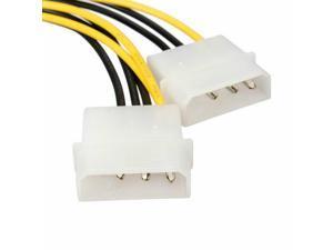 Dual 4 Pin Molex IDE to 8 Pin PCI Express Power Cable PCI-E Adapter