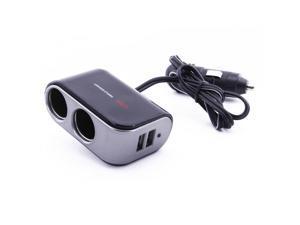 2 Way Dual DC Car Socket Cigarette Lighter Y Splitter w/ 2 USB Port 2A Charger