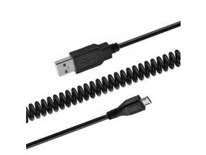 US Micro USB MicroUSB Spring Charge Cable Retractable For  Cell Phone Black