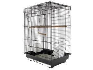 "22""  Bird Cage Flight Pet House Feeding Bowl Perch Open Play Top Black"