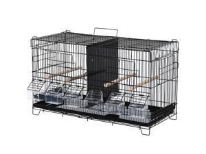 Bird Flight Cage 4 Doors 6 Food Boxes 4 Perch Pole Metal