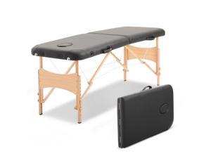 2 Section Massage Table Bed Spa Facial Couch Table Foldable w/ Carry Case