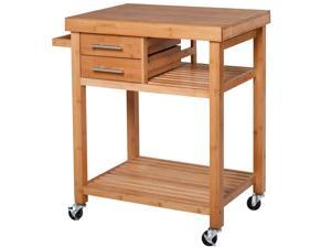 Mobile Bamboo Kitchen Island Serving Cart for Dining Room on Wheels