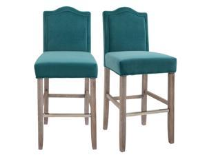 2 Pieces Bar Chairs Modern Style Solid Square Frame with/ Footrest for