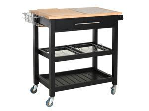 3-Tier Pine Bamboo Storage Serving Trolley Cart  with Fruit Basket Spice