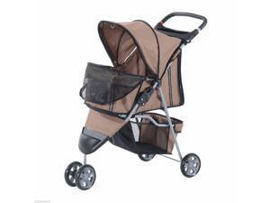 3 Wheels Folding Dog Pet Stroller Jogger Travel Carrier W/ Brake  Canopy