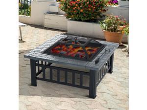 "32"" Square Fire Pit Steel Stove Outdoor Backyard BBQ W/Rain Cover Black"
