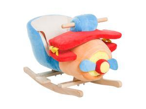 Children Rocking Horse Wood Riding Plush Seat Belt Songs Play Rocking Plane