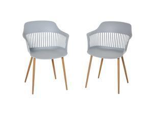 2 PCs Plastic Dining Chair w/ Metal Legs Living Room Bedroom Modern Seat
