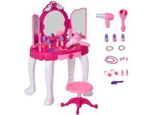 Dressing Table Cosmetic Mirror Pretend Princess Table w/ Music Lightening