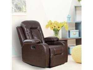 Manual Recliner Chair Padded Sofa Recliner Overstuffed Living Room Brown