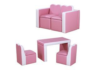 Sofa Set 2-In-1 Functional Storage Box Leather Table Chair Soft Pink
