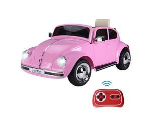 Licensed Beetle Electric Kids Ride-On Car 6V Battery Powered Toy, Pink