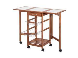 Wooden Rolling Kitchen Trolley Cart Table Island W/ Storage Drawer Rack Basket