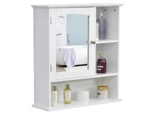 Wall Mounted Bathroom Mirror Cabinet with Door Adjustable Shelf