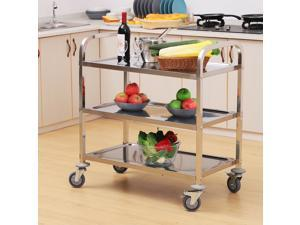 "33"" 3-Tier Stainless Steel Kitchen Cart Rolling Storage Utility Cart"