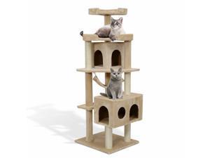 "65"" Cat Tree Scratcher Post w/ Hammock Condo Toy Pet Furniture Beige"