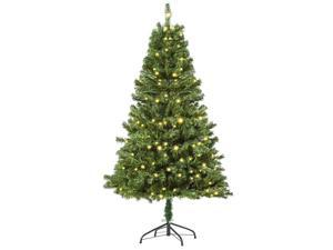 HOMCM 6' Artificial Christmas Tree Hinged Branches Pre-lit with LED Lights