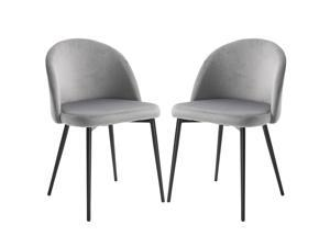 Modern Upholstered Fabric Bucket Seat Dining Chairs Set of 2 Grey
