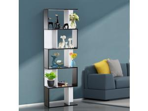 Modern S Shaped Bookcase Free Standing Storage Shelf Home Office