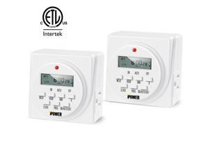 ETL Certified 7 Day Programmable Digital Electric Timer Dual Plug 2-PACK