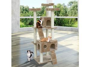 Multi- Level Cat Scratcher Tree Condo Kitten House Post Bed Toys Cat Furniture