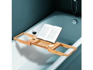 Bathtub Caddy Shelf Bath Tub Holder Bathroom Tray Wine Book Rack Stand