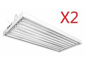 4 Ft 8 Lamps T5 Ho Tube Fluorescent Grow Light Hydroponic Fixture 2-Pack