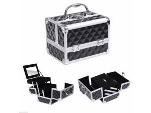 Pro Aluminum Makeup Train Case Jewelry Storage Box Cosmetic Organizer Black