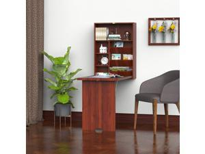 Fold-Out Convertible Desk Wall Mounted Table Cabinet Workston Walnut