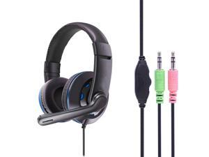 Gaming Headset Headphones Earphones Wired with PU Leather Ear Cover