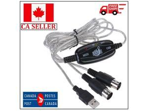USB 2.0 Interface to MIDI Cable Converter Black For PC Music Keyboard Adapter