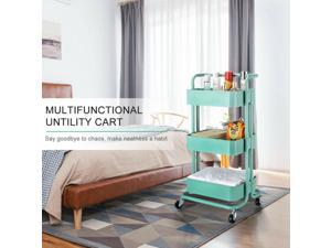 Metal Rolling Utility Cart-Heavy Duty Mobile Storage Organizer for Home