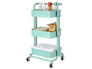 Metal Rolling Utility Cart-Heavy Duty Mobile Storage Organizer for Home Kitchen