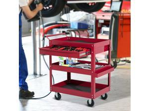 Rolling Tool Cart 3 Tray 1 Drawer Storage Chest Garage Utility Red