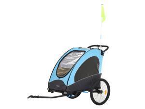 Child Bike Trailer 3 In1 Foldable Jogger Stroller 2-Seater Baby Stroller