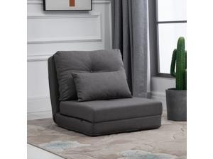 2-In-1 7 Position Adjustable Recliner Floor Sofa with Metal Frame Thick Padding