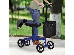 Knee Walker w/ Basket, Safety Lock Crutch Alternve PU Seat rehabilitng