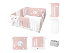 Pink Portable Baby Playard 14 Panel Activity Centre Safety Infant Playpen Indoor