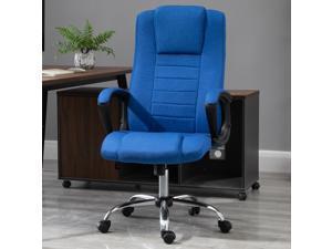 Office Chair 360° Swivel Chair Adjustable Height Tilt Function Linen Blue