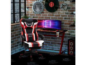 High Office Chair Back Racing Reclining w/ Pillow Lumbar Height Adjustable Red