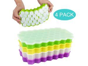 4pcs New Silicone Ice Cube Trays with Lids,Flexible Easy Small Honeycomb Ice Tray 148 Cells Food Grade Stackable Ice Mold for Fruit Milk