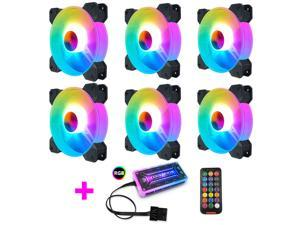 COOLMOON RGB Case Fans,120mm Round Silent Computer Cooling PC Case Fan, RGB Color Changing LED Fan with Remote Control