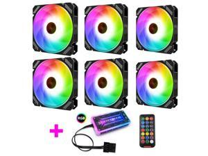 COOLMOON RGB LED Case Fans 120mm, Quiet Edition High Airflow Adjustable Colorful Case Computer Cooling Fan with Remote Control, Radiators System