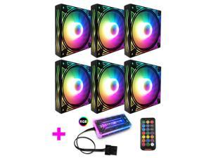 COOLMOON RGB Case Fans,120mm Huge Wave Silent Computer Cooling PC Case Fan, RGB Color Changing LED Fan with Remote Control