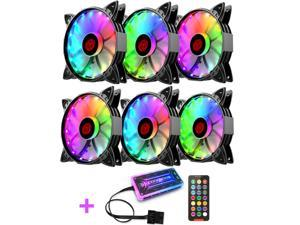 COOLMOON RGB Case Fans,120mm Amber Silent Computer Cooling PC Case Fan, RGB Color Changing LED Fan with Remote Control