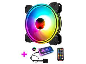 COOLMOON 120mm New RGB Case Fans, Multilayer Luminescence Silent Computer Cooling PC Case Fan, RGB Color Changing LED Fan with Remote Control